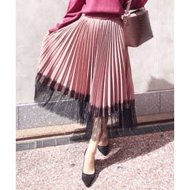 【スカート】裾レースプリーツスカート (ピンク)