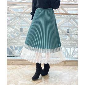 【スカート】裾レースプリーツスカート (グリーン)