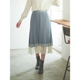 【スカート】裾レースプリーツスカート (サックスブルー)