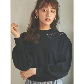 【ニット】カットワーク刺繍モックネックニット (ブラック)