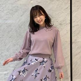 【ニット】カットワーク刺繍モックネックニット (ラベンダー)