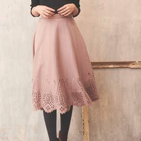 【スカート】ヒートカットフレアスカート (ピンク)