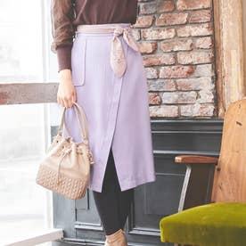 【スカート】スカーフ付きタイトスカート (ラベンダー)