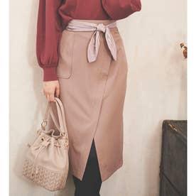 【スカート】スカーフ付きタイトスカート (ベージュ)