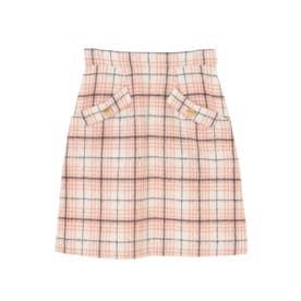【スカート】シャギーチェック台形スカート (オフホワイト)