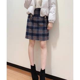 【スカート】シャギーチェック台形スカート (ネイビー)