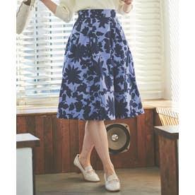 タイプライター花柄スカート (ブルー)