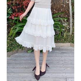 スカラップ刺繍ティアードスカート (オフホワイト)