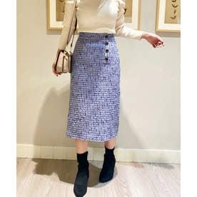 フロント釦ツイードタイトスカート (サックスブルー)
