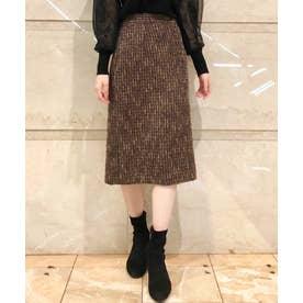 フロント釦ツイードタイトスカート (コゲチャ)