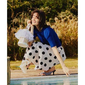 裾チュールミディ丈柄スカート (ベージュ)