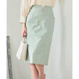 フロントファスナータイトスカート (ライトグリーン)