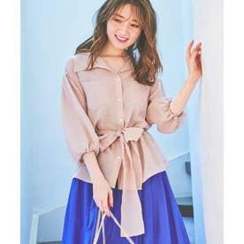 シースルーCPOシャツジャケット (ピンク)
