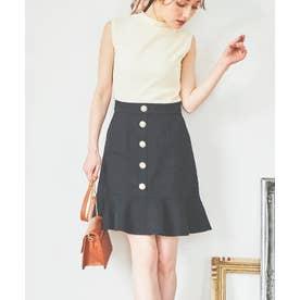 ビジュー釦裾フリルスカート (クロ)