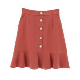 ビジュー釦裾フリルスカート (オレンジ)