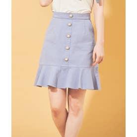 ビジュー釦裾フリルスカート (サックス)