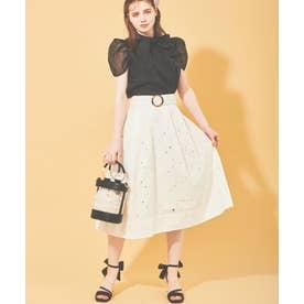 カットワーク刺繍切替スカート (オフホワイト)