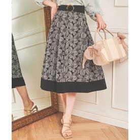 カットワーク刺繍切替スカート (シロクロ)