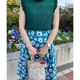 花柄フレアスカート (グリーン)