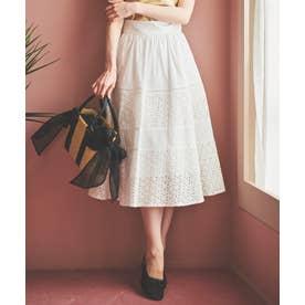 コットン刺繍切替スカート (オフホワイト)