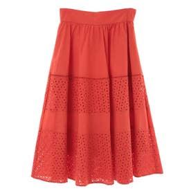 コットン刺繍切替スカート (オレンジ)