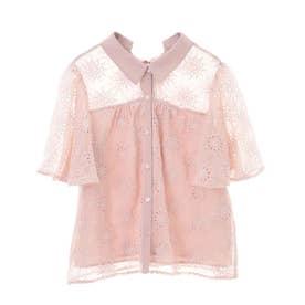 シフォン刺繍ブラウス (ピンク)