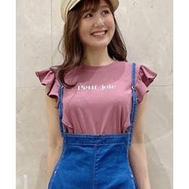 フリルスリーブロゴTシャツ (ピンク)