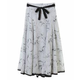 エアリーフラワープリントスカート (サックスブルー)