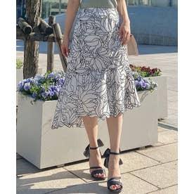 配色刺繍アシメスカート (オフホワイト)