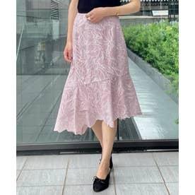 配色刺繍アシメスカート (ピンク)