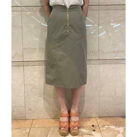 フロントジップタイトスカート (カーキグリーン)