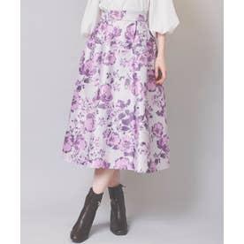 大花柄フレアスカート (ピンク)