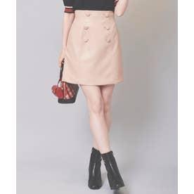 フェイクレザー台形スカート (ピンク)