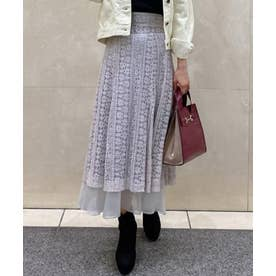 裾オーガンジーレーススカート (ライトグレー)