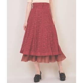 裾オーガンジーレーススカート (ピンク)