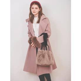 スタンドカラーファー付きコート (ピンク)