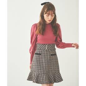 裾フリルツイードスカート (クロ)