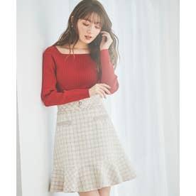 裾フリルツイードスカート (オフホワイト)