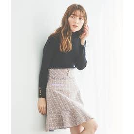 裾フリルツイードスカート (ラベンダー)
