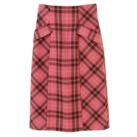 カラーチェックタイトスカート (サーモンピンク)