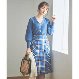 カラーチェックタイトスカート (ブルー)