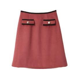 パイピング台形スカート (ピンク)