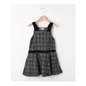 【90-140cm】リボン使いチェック柄ジャンパースカート (ブラック(219))
