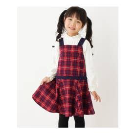 【90-140cm】リボン使いチェック柄ジャンパースカート (レッド(262))