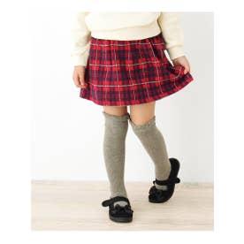 【90-140cm】チェック柄スカート風ショートパンツ (レッド(262))