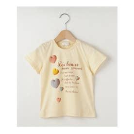 【100-150cm】立体ハートプリントTシャツ (イエロー系)