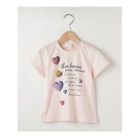 【100-150cm】立体ハートプリントTシャツ (ベビーピンク)