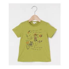 【90‐140㎝】プリントクルーネックTシャツ (ライトグリーン)