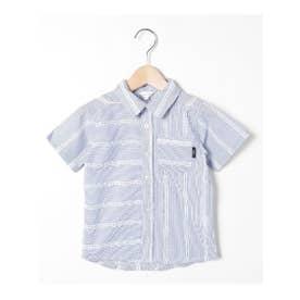【90-140cm】ナローストライプ×刺しゅう柄デザインシャツ (ライトブルー)