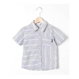【90-140cm】ナローストライプ×刺しゅう柄デザインシャツ (ネイビー)
